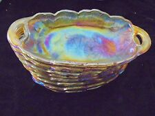 Set of 8 Vintage Marigold Carnival Glass Relish Dishes an Irridescent Collection