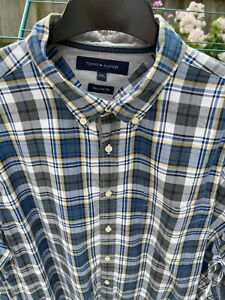 Tommy Hilfiger Mens Soft Cotton Shirt - Blue Check - Size XXL - Great Condition
