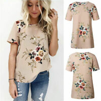 Ladies Summer Womens Casual Tops Blouse Short Sleeve Crew Neck Floral T-Shirt