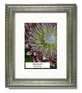 Set of 6 - 8x10 Ornate Silver Picture Frames, Glass, Warm White Mats for 5x7.
