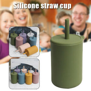 Silicone Training Cup W/Straw Leak Proof Lid Spill Proof Sippy Cup For KID AU
