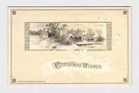 PPC POSTCARD CHRISTMAS WISHES WINSCH SNOW COVERED PASTORAL GOLD EMBOSSED