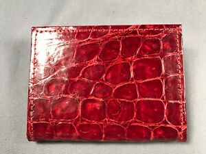 New Handmade Genuine Red Alligator/Crocodile premium Compact Bifold Wallet 1