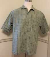 Columbia Men's Casual Short Sleeve S/S Button Fr Shirt Large Lg L Green Check