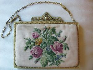 Antique Gold Filigree Amber Jewel Frame Silk Petit Point Floral Embroidery Purse