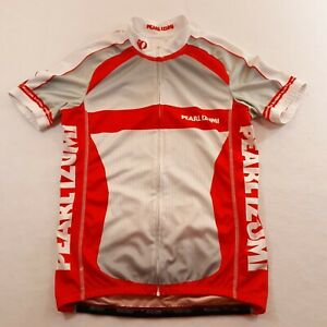 Pearl Izumi Womens Size Medium Red White Gray Full Zip Cycling Jersey Spell Out