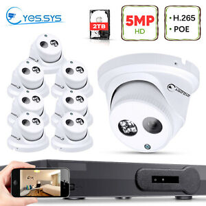 Eyes.sys 8x 5MP Array LED Dome Camera 8CH 2TB HDD POE NVR CCTV Security SYSTEM