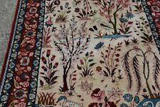 Large Isphahan Pictorial Rug Paradise Tableau 7,8x4.8 Trees flowers Birds