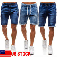 Mens Summer Straight Slim Fit Short Jeans Pants Drawstring Denim Shorts Trousers