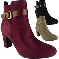 Womens Ladies Buckle Strap Mid Heel Work Chelsea Ankle Boots Party Shoes Size