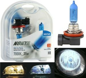 Nokya 7000K White H8 Nok7423 35W Two Bulbs Fog Light Replacement Plug Play Lamp