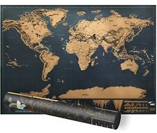SCRATCH OFF WORLD MAP POSTER PERSONALISED TRAVEL GIFT Mini 42x30cm