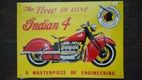 INDIAN - 4 MOTOCYCLE Placa metalica litografiada publicidad 42 x 30 cm. replica