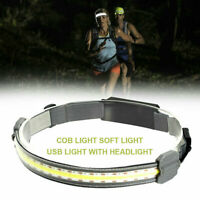 Waterproof Motion Sensor Head Torch COB LED Headlight USB Rechargeable Headlamp