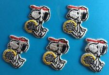 5 Lot Vintage 1970's Snoopy Peanuts Tennis Embroidered Hat Jacket Patches A