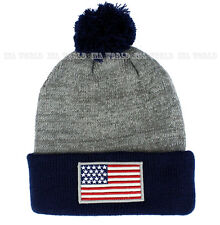 USA American Flag hat Pom Beanie Stars-Stripes Knit Cuffed Ski cap- Gray/Navy