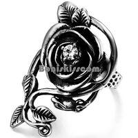 Stainless Steel Vintage Cluster Rose Flower Vine Ladies Girls Love Promise Ring