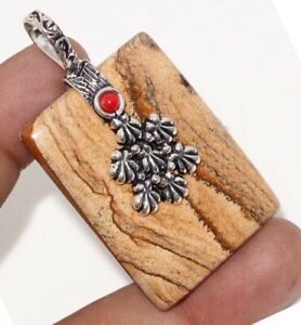 """Picture Jasper Red Coral 925 Silver Plated Pendant 2.2"""" Birthday Gift GW"""