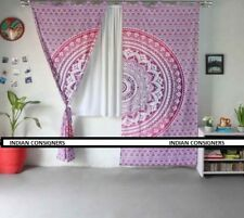 Pink Color Round Omber Mandala Art Design Twin Size Curtains 100% Cotton Fabric