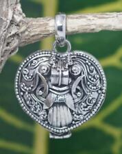 Handmade Sterling Silver .925 Bali Heart and Barong Prayer/Pill Box Pendant.