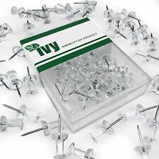 Ivy Stationery - Clear Push Pins Map Pins - Pack of 40 - Plastic 7mm Round Head