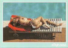 Original Italian Nude Pinup PC- Strip Card- Sunbathing by Swimming Pool- Butt