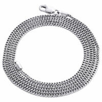10K White Gold Solid Franco Box Chain Closed Link 1.50mm Necklace 24 - 30 Inches