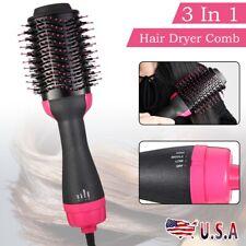 3 In 1 One Step Hair Dryer Comb & Volumizer Pro Brush Straightener Curler US