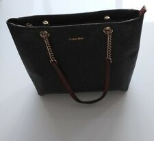 Calvin Klein Purse Hand Bag Tote Brown Khaki // Tan Gold Chain Strap/Size M