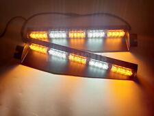 """34"""" 40 W LED EMERGENCY WARNING STROBE VISOR SPLIT DECK LIGHT BAR AMBER&WHITE"""