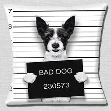 BUFFO Cane Jack Russell Copricuscino 16x16 pollici 40cm BAD DOG CARCERE foto segnaletica foto