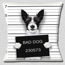 Funny Jack Russell Dog Cushion Cover 16x16 inch 40cm Bad Dog Jail Mug Shot Photo