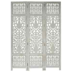 Solid Mango Wood Hand Carved 3-Panel Room Divider Grey 120x165cm Screen