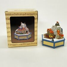 Enesco It's A Small World Alpine Village Moving Trains Lighted Music Box 1981