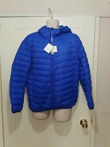 mens Padded ultra light Duck Down hooded Winter Coat shiny nylon shell Blue M
