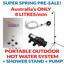Luxline Portable 8 LPG gas hot water heater instant outdoor camping caravan 4WD