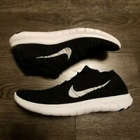 NIKE Free RN Run Motion Flyknit Running Shoes Womens 11 Black white 834585-001