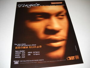 D'ANGELO Rare 1996 RADIO PROMO DISPLAY AD Me And Those Dreamin' Eyes Of Mine