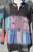 NWT lovely John Mark blouse/jacket. Long sleeves. Black/Color kaleidoscope. XL