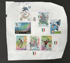 FRANCOBOLLI USATI - Frammento di busta con 7 campioni d'italia diversi