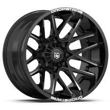 """4-Dropstars 654BM 22x12 6x135/6x5.5"""" -44mm Black/Milled Wheels Rims 22"""" Inch"""