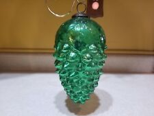 "Antique Very Large 8"" Grape Green Iridescent Kugel Christmas Ornament"