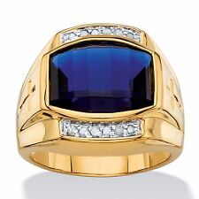 MENS BLUE SAPPHIRE 14K GOLD DIAMOND ACCENT CUSHION GP RING SIZE 8 9 10 11 12 13