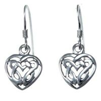 Sterling Silver Celtic Heart Earrings with Gift Box - Drop Earrings