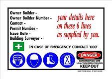 OWNER BUILDER SIGN 900mm x 600mm safety building site owner builder legal sign