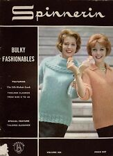 Spinnerin 154 Bulky Fashionables Knitting Patterns Classic Sweaters Jacket 1964
