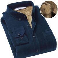 Men's Winter Corduroy Fur Lined Shirts Warm Tops Long Sleeves Cotton Coats Thick