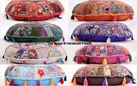 81.3cm Rond Housse Coussin Sol Ottomane Jeté de Lit Vintage Tapisserie Indienne