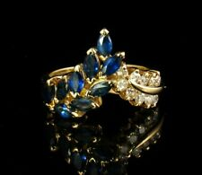 EFFY SIGNED NATURAL 1.0ctw BLUE SAPPHIRE DIAMOND SOLID 14K GOLD WREATH BAND RING