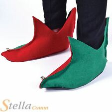 Red and Green Christmas Panto Elf Shoes Fancy Dress Costume BOOTS With Bells